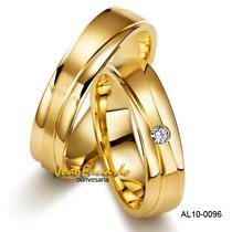 Alianças De Casamento Ouro Amarelo Com Diamantes 6 Mm