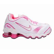 Tênis Nike Shox Turbo Branco E Rosa Para Criança