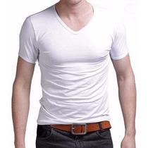 Camiseta No Atacado Algodão Lisa Kit 10 Peças Gola V Branca