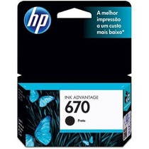 Cartucho Hp 670 Preto Para Hp Advantage 3525 4615 4625 5525