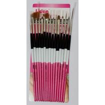 Kit Pincel Gel Uv Com 15 Pinceis Manicure Acrigel