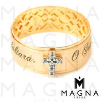 Magna- Anel O Senhor É O Meu Pastor Em Ouro 18k + Frete