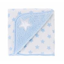 Manta Fleece Bebê Dupla Face Bordado Estrela Azul - Lepper