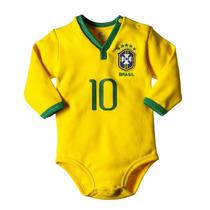 Body Camiseta P/ Bebe Oficial Seleção Brasileira Manga Longa