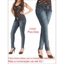 Calça Feminina Jeans Plus Size Azul Tamanhos 44 52 Lycra 635