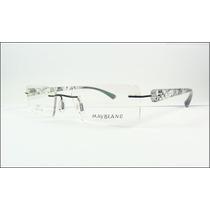 Armação Oculos Grau Sem Aro Preta Decorada Titanium - A589