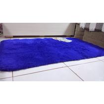 Tapete Peludo Sala Quarto Azul Royal 2,00x1,20m