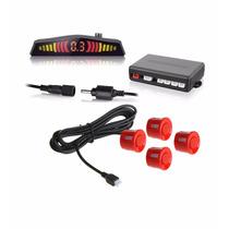 Sensor Estacionamento Ré 4 Sensores C/displa Sonoro Vermelho