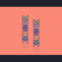 Brinco Rommanel Formato Retângulo Com Cristais Coloridos. M
