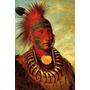 Índio Americano Pintura Rosto 1844 Pintor Catlin Tela Repro