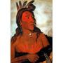 Índio Valente Americano Pintura Rosto Pintor Catlin Tela Rep