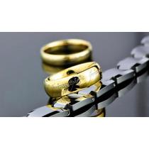 Anel Senhor Dos Anéis Titânio Banhado Ouro 18k + Corrente