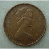 2144 Inglaterra 2 New Pence, 1975 , Bronze, 26 Mm, Elizabeth