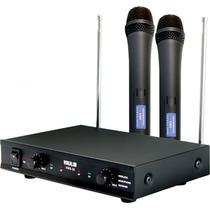 Microfone Sem Fio De Mão Duplo Vocal Vws-20 Bivolt Vhf 30mts