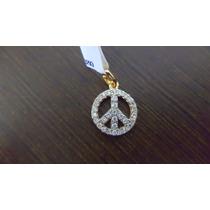 Pingente Prata Banho Ouro Simbolo Paz Cravejado Zirconias