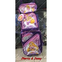 Mochila Escolar Infantil Rodinhas Disney Enrolados Rapunzel