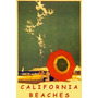 California Praia Gaivotas Guarda Sol Vintage Poster Repro