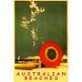 Australia Praia Gaivotas Guarda Sol Mar Vintage Poster Repro