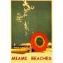 Miami Praia Gaivotas Guarda Sol Mar Usa Vintage Poster Repro