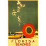 Florida Praia Gaivotas Guarda Sol Usa Vintage Poster Repro