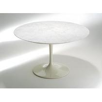 Mesa Jantar Saarinen Redonda 107cm Mármore Branco Extra