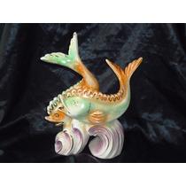 Linda Escultura Peixes Em Faiança Vitrificada Valves,déc.60