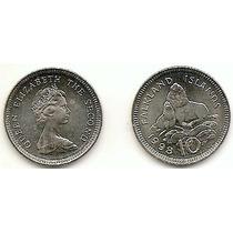 Ilhas Falkland, Moeda De 10 Pence, 1998, Ni, Fc-leão Marinho