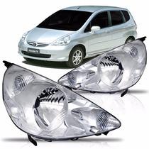 Farol Honda Fit 2003 2004 2005 2006 2007 2008 Cromado