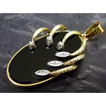 Maravilhoso Pendente Onix E Diamantes Naturais Em Ouro 18k