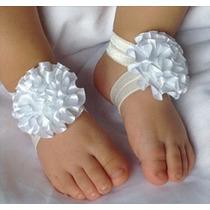 Sandalia Sapatilha Calçado Sapatinho Meia Cetim Flores Bebes