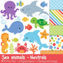 Kit Scrapbook Digital Animais Do Mar Imagens Clipart Cod463