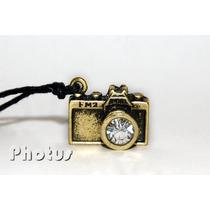 Promoção! Colar Câmera Fotográfica - Cor Ouro Envelhecido