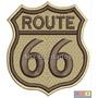 Bordado Termocolante - Adventure - Route 66 Marrom 7x7,5cm