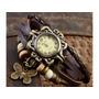 Relógio Feminino Vintage Em Couro....pingente De Borboleta
