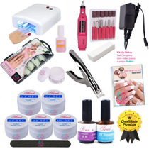 Kit Unhas Gel Uv Acrigel + Mini Lixa Eletrica + Cabine 110v