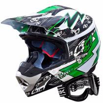 Capacete Motocross Th1 Eletric Protork 56 Verde + Óculos