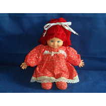Boneca Antiga Corpo Pano Cabelos Lã Vermelhos Olhos Pintados