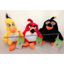 Kit 3 Pelúcias Angry Birds Musicais : Chuck + Red + Bomb