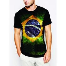 Camisa Estampa Bandeira Brasil Personalizada Malha Fria Pv