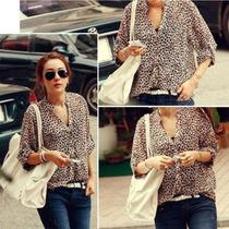 Camisa Em Chiffon Leopardo Tamanho L ( Large ) 40 Br
