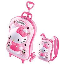 Mochila C/ Rodas 3d Hello Kitty + Lancheira