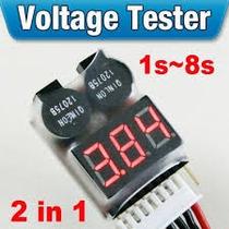 Alarme De Voltagem Baixa P/ Bateria Lipo 2s - 8s Digital Jr