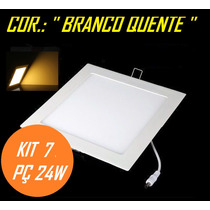Kit 7 Painel Plafon Luminaria Led Embutir Branco Quente 24w