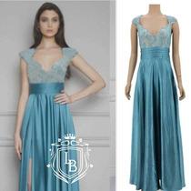 Vestido Festa Azul Turquesa Tiffany Renda Pronta Entrega