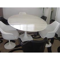 Mesa Saarinen Oval 1.98 X 1.22 Marmore Branco Espirito Sant