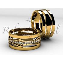 Alianças De Casamento De Luxo Ouro 18k. Zirconias
