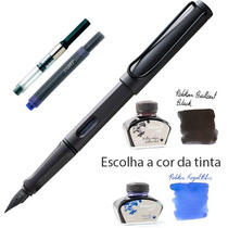 Kit Lamy Caneta Tinteiro Charcoal Carvão + Conversor + Tinta