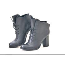 Bota Feminina Cano Curto Ankle Boot Em Couro E Cadarço
