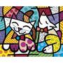 Poster (36 X 28 Cm) Happy Cat And Snob Dog Romero Britto