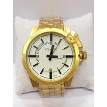 Relógio Masculino Atlantis Original Dourado Pronta Entrega